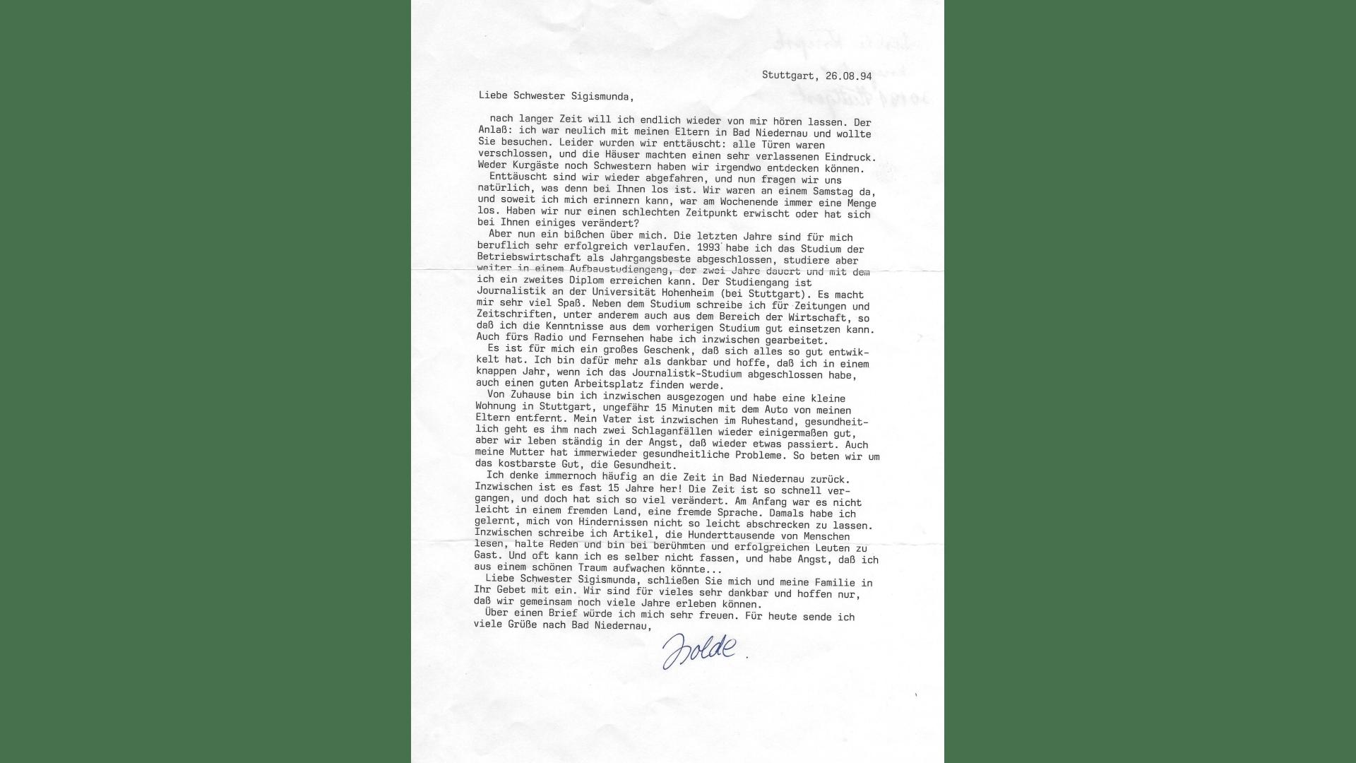 Dankesbrief einer Schülerin an Schwester Sigismunda, 15 Jahre nach ihrer Zeit in Bad Niedernau. Foto: Archiv Arme Schulschwestern