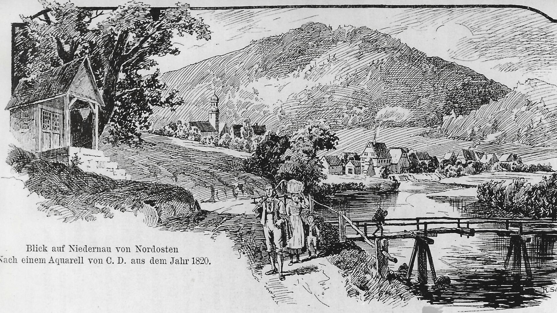 Blick auf Bad Niedernau -Aquarell um 1820  - Foto: :  Archiv Arme Schulschwestern