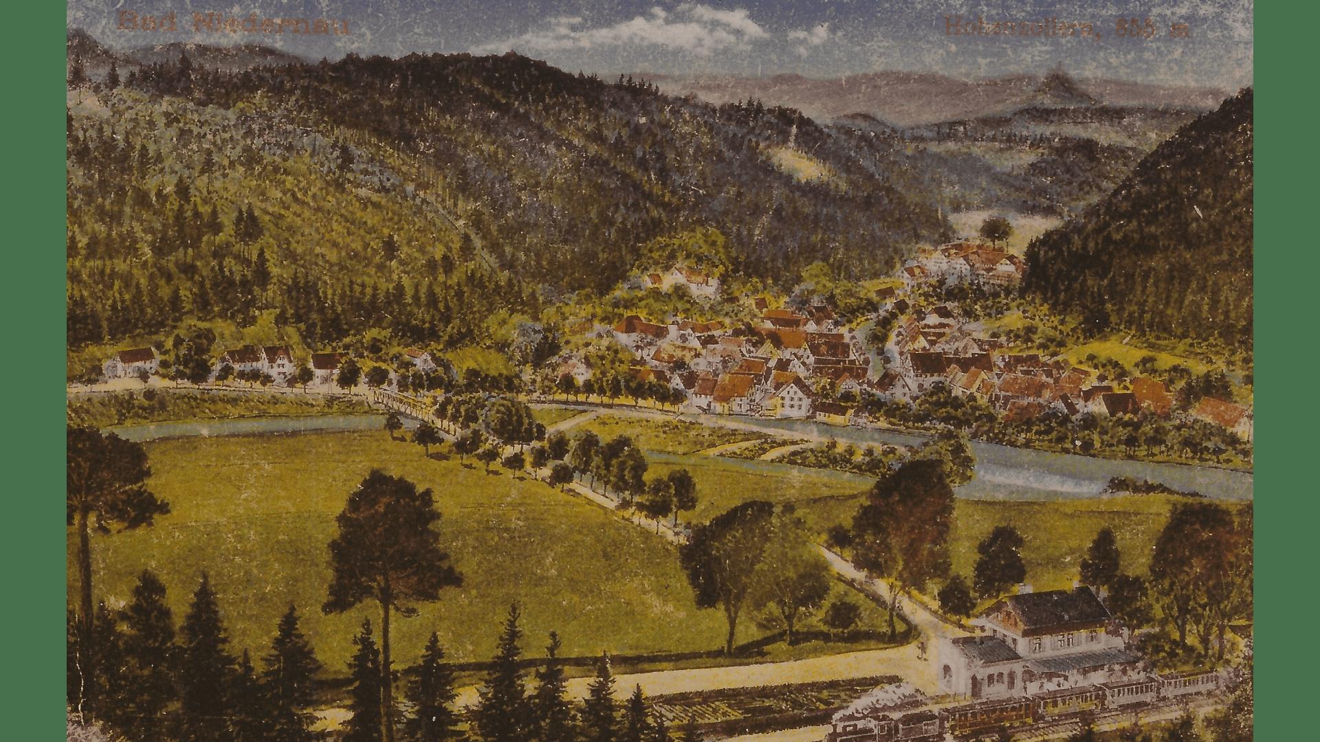 Historische Aufnahme B. Niedernau 1864 -Eröffnung der Bahnstrecke Rottenburg-Eyhach- Foto:  Archiv Arme Schulschwestern