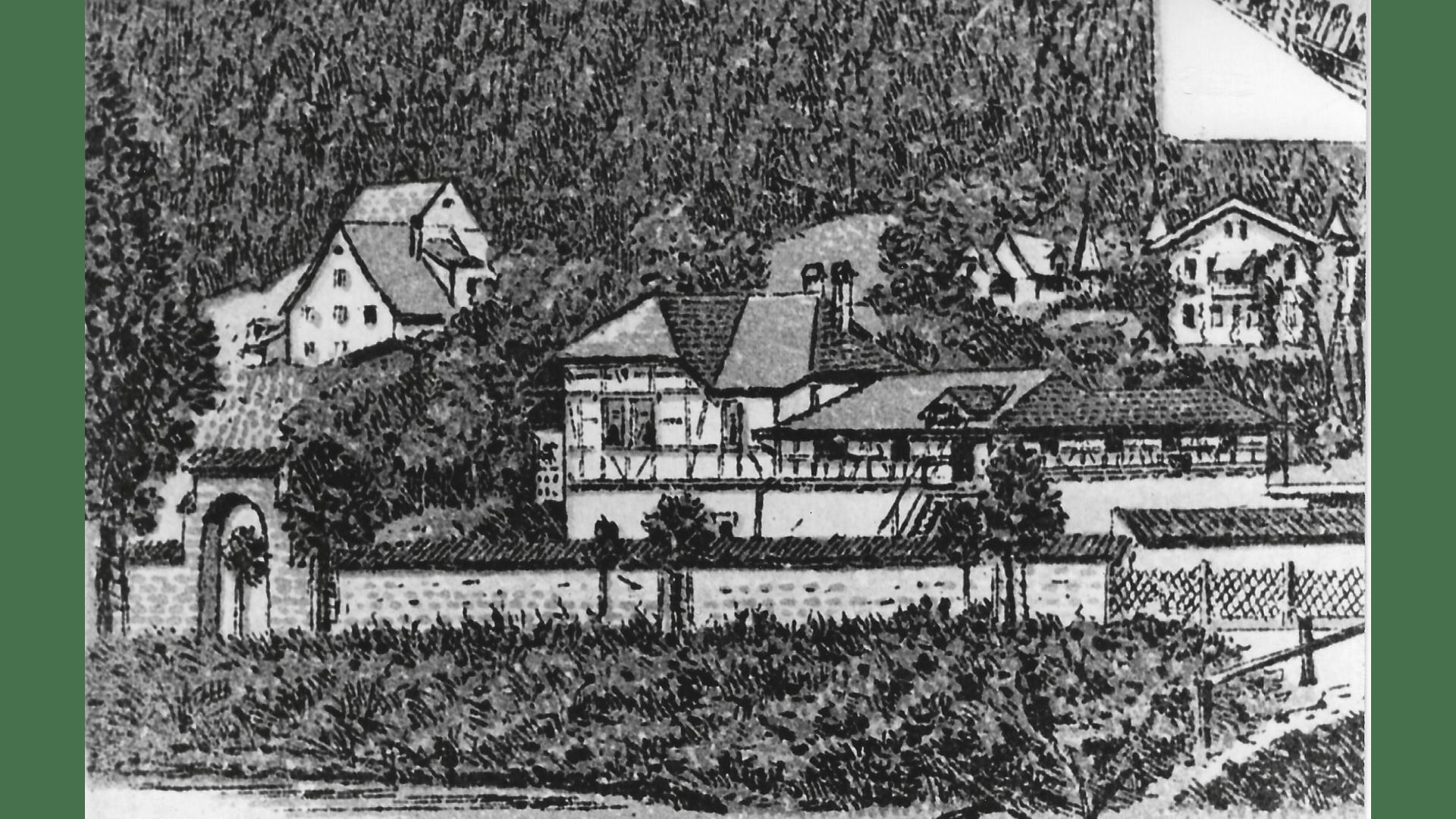 Historische gemalte Ansicht-Fritz Keller Haus -Villa Steiner. Foto:  Archiv Arme Schulschwestern