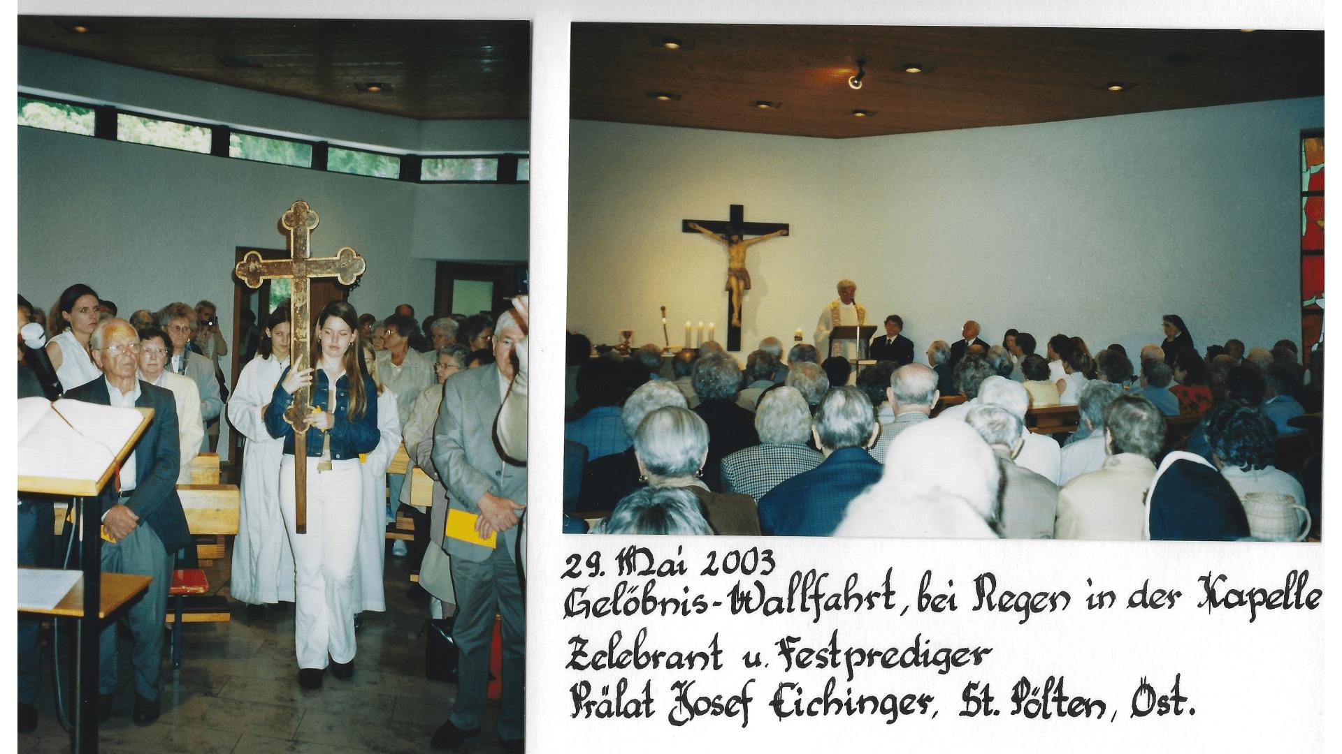 Wallfahrt 2003 - bei Regen. Foto: Archiv Arme Schulschwestern