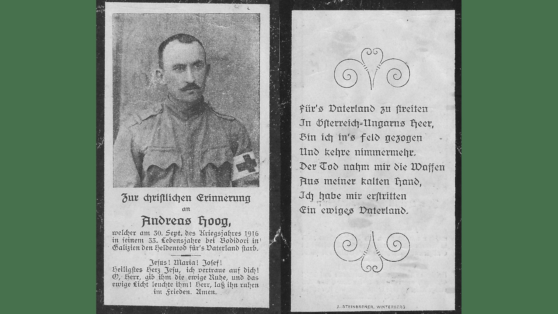 Beispiel eines Christlichen Andenkens an einen Gefallenen des Ersten Weltkrieges. Foto: Archiv Freundeskreis Filipowa