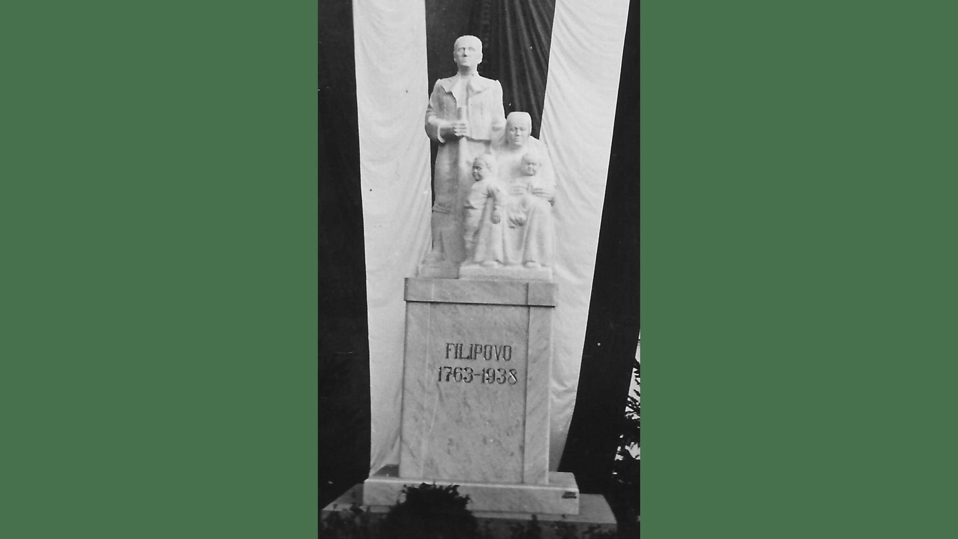 Denkmal zur Erinnerung der deutschen Ansiedlung 1763. Entwurf Sebastian Leicht-Brestovac, hergestellt Steinmetz Johann Epli Filipowa.